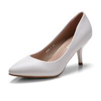 2017女鞋新款高跟鞋细跟性感尖头欧美浅口OL鞋子2016春秋季单鞋女888-1ZZM支持货到付款