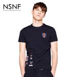NSNF纯棉徽章黑色短袖T恤 2017年春夏新款