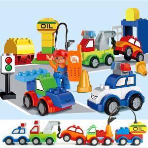 惠美 汽车总动员 宝宝大颗粒拼插积木 男孩女孩益智玩具