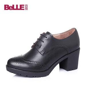 Belle/百丽春专柜同款牛皮经典复古英伦风舒适粗跟女单鞋BIP20AM6