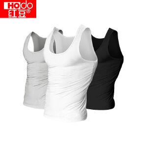 【秒杀包邮】红豆男士针织全棉运动打底T恤背心 黑白灰三色装
