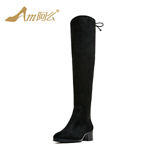 【冬季清仓】阿么中跟弹力长靴粗跟绑带高筒靴绒面修腿显瘦及膝靴子女