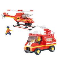 小鲁班积木 消防中心紧急出动 儿童益智拼插积木 急速火警B0219