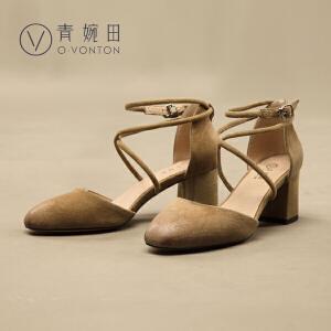 青婉田女鞋2017夏季新款羊�S皮交叉绑带粗跟包跟包头凉鞋女夏高跟