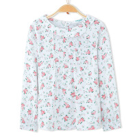 巴拉巴拉童装女童幼童宝宝白红色满印小玫瑰长袖衬衫