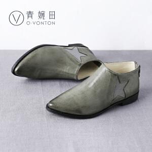 青婉田2017新款尖头平底鞋女真皮羊皮女鞋平跟休闲单鞋四季鞋女