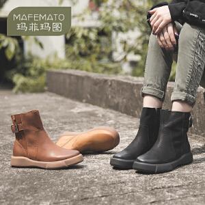玛菲玛图欧美复古女靴休闲马丁靴短靴英伦风圆头平底短筒靴秋冬季大码短靴009-28S