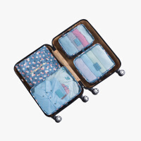 当当优品 旅行收纳袋6件套 行李箱衣物分装袋 蓝色花朵