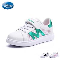 迪士尼童鞋2017夏季新款小白鞋户外休闲鞋学生鞋女童网布运动鞋旅游鞋中童滑板鞋