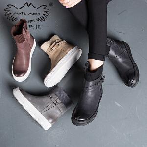 玛菲玛图毛线靴子秋冬切尔西靴保暖加绒圆头马丁靴女英伦短靴女362-12L秋季新品