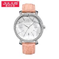 2017新款Julius聚利时尊贵典雅人气圆形真皮石学生表女士手表