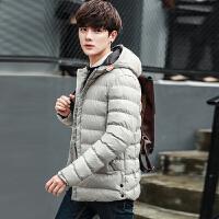 地球城冬季棉衣男 青年修身加厚连帽男士棉服中长款外套