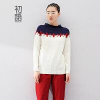初语 冬季女装新款 撞色拼贴布缝补提花长袖针织衫女毛衣女冬装打底衫8440323071