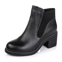 Teenmix/天美意专柜同款黑色牛皮/织物女短靴(绒里)AL82HDD5