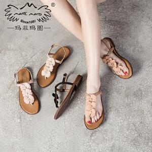 玛菲玛图 夏天拖鞋女时尚外穿2017新款学生英伦凉鞋花朵复古罗马纯手工女鞋2611-6D