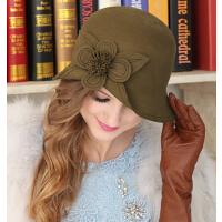 秋冬天季女优雅名媛韩版 花朵英伦礼帽女羊毛呢帽子 潮女帽