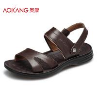 奥康男鞋 夏季新款男士凉鞋真皮透气露趾凉拖男爸爸休闲沙滩鞋子
