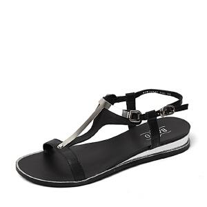 BASTO/百思图夏季专柜同款牛皮时尚休闲女凉鞋16B35BL6 专柜1