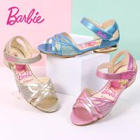 芭比童鞋 女童凉鞋2017夏季新款儿童凉鞋靓丽时尚公主鞋女童沙滩鞋