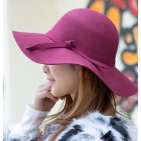 女 秋冬季小辣椒英伦礼帽时装帽毡帽 羊毛呢子大檐帽