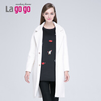 lagogo冬保暖茧型女装冬外套毛呢大衣女长款EDH973B639