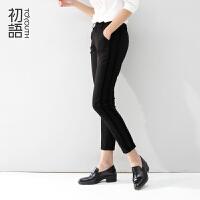 初语2016冬新款女装拼接撞色显瘦修身小脚裤女8441911125
