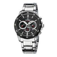 2017年新款 EYKI艾奇 韩版多功能男士手表 全不锈钢 日历星期三眼钢带表