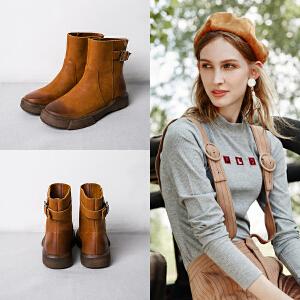 玛菲玛图欧美街头油蜡牛皮马丁靴复古厚底女短靴休闲单靴子短筒靴大码马丁靴009-24