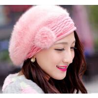 冬季帽子 新款 女韩版 秋冬贝雷帽兔毛帽子  可爱时尚女帽冬天女士帽子