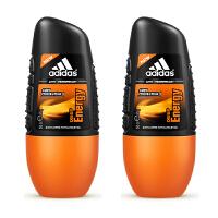 阿迪达斯adidas 男士走珠香水香体止汗露液滚珠50ml 两只装 能量走珠0027