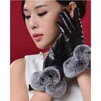 保暖獭兔 毛皮 草奢华加 厚棉绒  羊皮手 套女士时尚  真皮手套