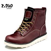 走索英伦冬季男士棉靴真皮棉鞋休闲加绒男靴保暖潮流毛靴短靴子男