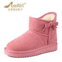 【冬季清仓】阿么牛皮保暖羊毛混纺韩版甜美圆头平底雪地靴女正品