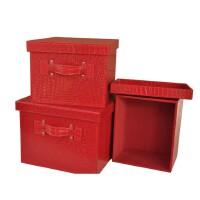 好吉森鹤/北京线上50元包邮//皮革整理箱 收纳箱三件套 储物盒 大中小号 有盖文件资料箱/精品文件盒--------------------1套3个+送品25003