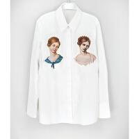 clooouds Sick Rose 女士全棉印花贴布长款衬衫