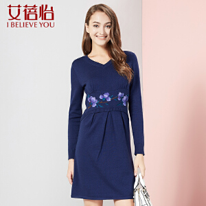新款女装v领连衣裙长袖毛衣裙中长款女民族风CMD6110