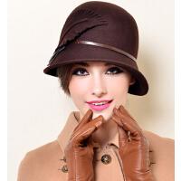 春秋秋冬天韩版潮时尚英伦礼帽 款冬季羊毛呢帽子女 女士帽子