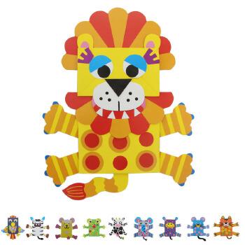 动物纸袋手偶纸偶创意diy亲子幼儿手工幼儿园区域
