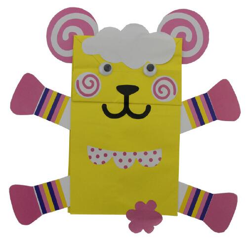 动物纸袋手偶纸偶创意diy亲子幼儿手工幼儿