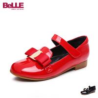 百丽童鞋女童皮鞋2017夏季新款中童亲子鞋学生鞋儿童单鞋