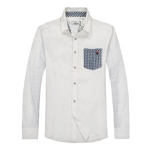 杰克琼斯春季男士简约潮流时尚口袋拼接百搭衬衫18-5-2-213105047023