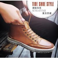 2017夏季新品男士休闲鞋英伦风复古擦色板鞋高帮男鞋软底皮鞋8733JLF支持货到付款