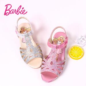 芭比童鞋 女童凉鞋2017夏季新款3-16岁儿童凉鞋时尚靓丽公主鞋