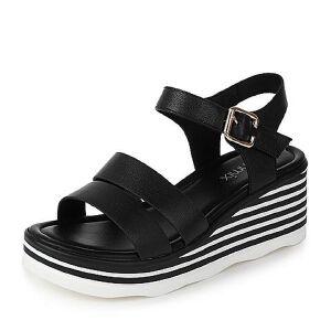 Teenmix/天美意2017夏专柜同款牛皮时尚坡跟简约女凉鞋AO951BL7