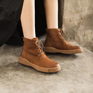 玛菲玛图秋冬新款平底牛皮马丁靴复古厚底女短靴系带单靴子女短筒靴 大码马丁靴009-16