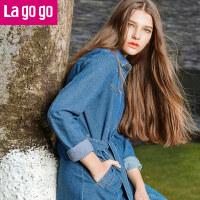 Lagogo/拉谷谷2017年春季新款时尚系带口袋牛仔风衣GAFF23A425