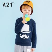 以纯A21童装套头卫衣中大童2016冬装 可爱时尚潮童男童圆领长袖衫