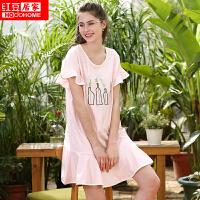 红豆居家女式睡衣 女式纯棉条纹可爱印花舒适休闲针织长袖裙