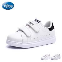 迪士尼童鞋2017夏季新品儿童板鞋宝宝魔术贴滑板鞋中童小白鞋男女童板鞋休闲鞋