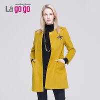 Lagogo/拉谷谷年冬新款毛呢外套女中长款 呢子大衣EDH973B207
